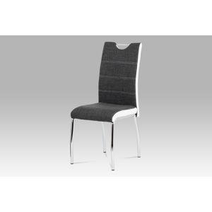 Jídelní židle HC-586 GR2, šedá látka+bílá koženka/chrom