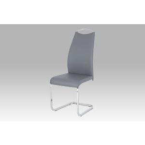 Jídelní židle šedá koženka / chrom HC-981 GREY