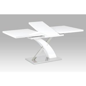 Rozkládací jídelní stůl 140+40x90 cm, bílý mat / nerez HT-999 WT