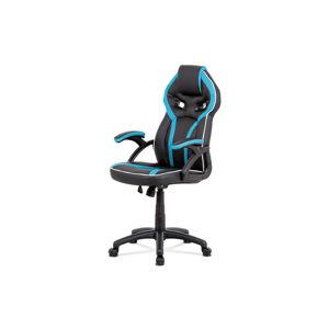 Kancelářská židle, černá ekokůže+modrá látka, houpací mech, plast kříž KA-N662 BLUE