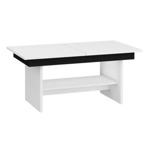 Konferenční stolek DALLAS rozkládací LESK, barva: bílá/černý lesk