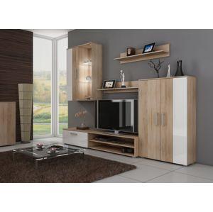 STELLA, obývací stěna, dub sonoma/bílý lesk