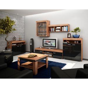 Obývací stěna MAXX, švestka/černý lesk
