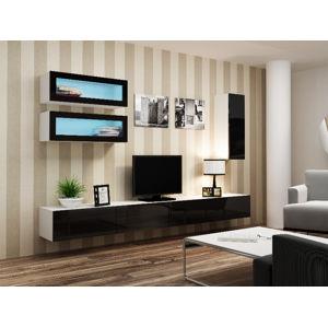 Obývací stěna VIGO 11, bílá/černý lesk
