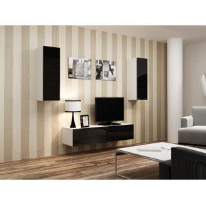 Obývací stěna VIGO 7, bílá/černý lesk