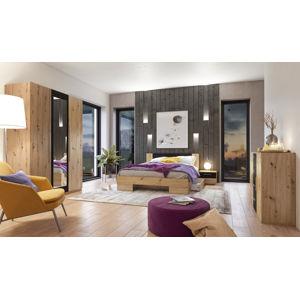 VERA II postel 140x200 cm s nočními stolky, dub artisan/černá