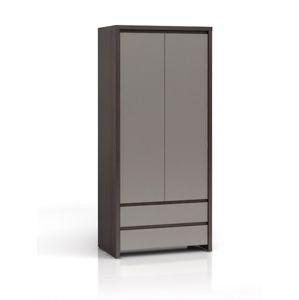 KASPIAN, skříň SZF2D2S, šedý vysoký lesk