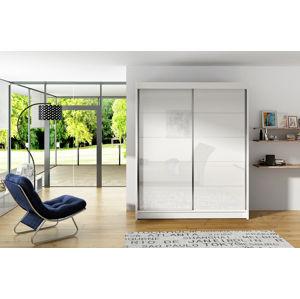 Šatní skříň VITO I, bílý mat/bílé sklo