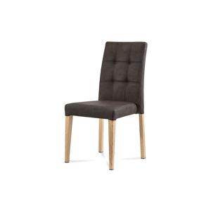 Jídelní židle, hnědá látka v dekoru broušené kůže, kovová podnož, 3D dekor dub WE-9091 BR3